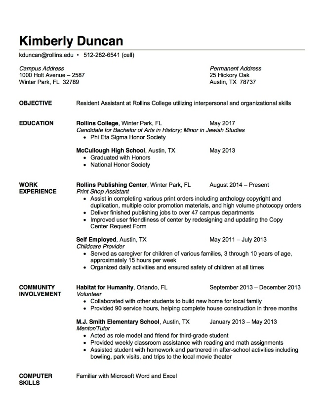 order of work experience on a resume